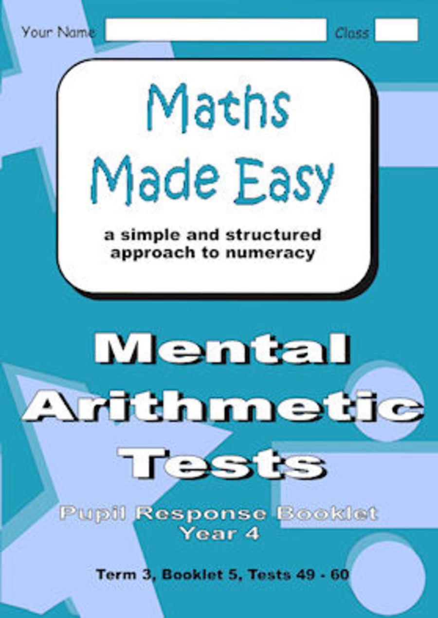 Mental Arithmetic Tests Pupil Response Booklet Year 4 Booklet 5 ...