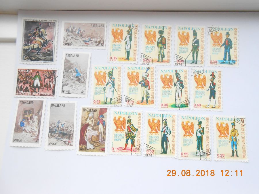 Collection 19 napoleonic  waterloo related stamps