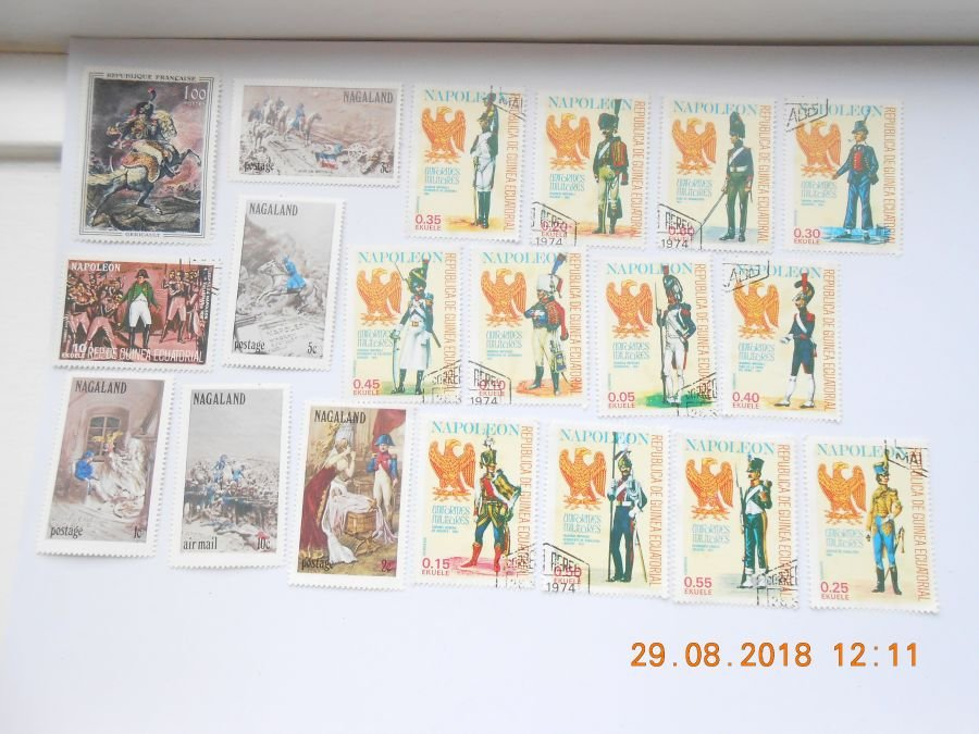 Collection 19 napoleonic related stamps