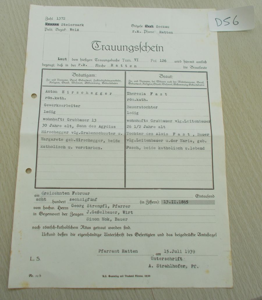 Third reich document  from file political Gauleiter