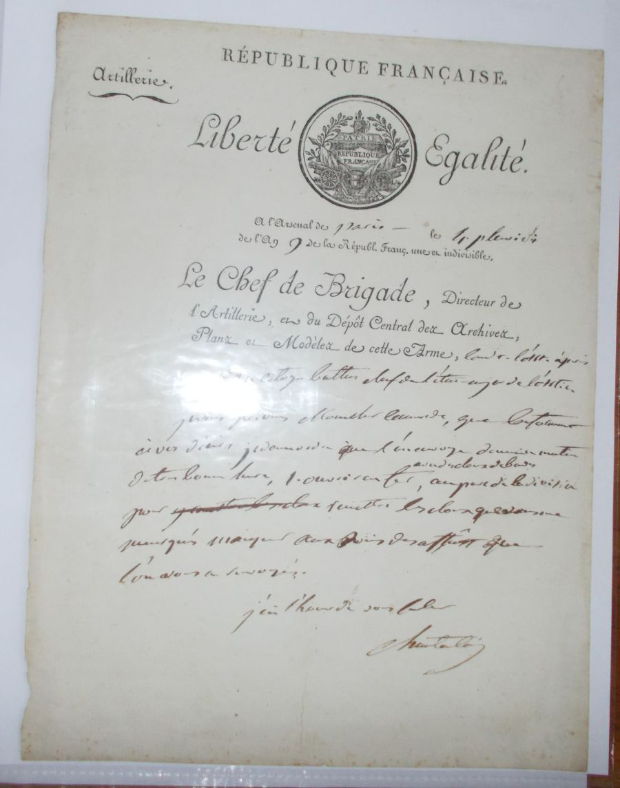 NAPOLEONIC ERA DOCUMENT  Chef de Brigade