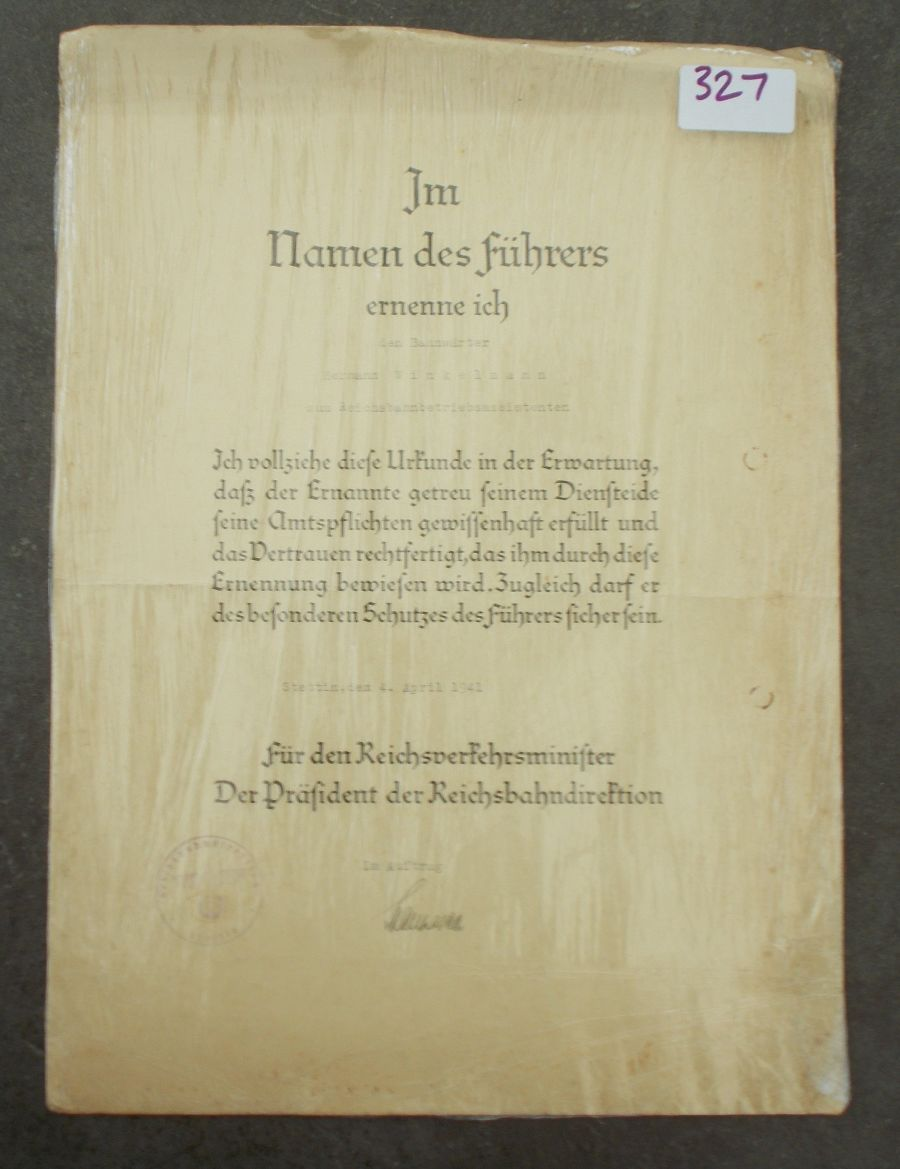 THIRD REICH GERMAN AWARD DOCUMENT