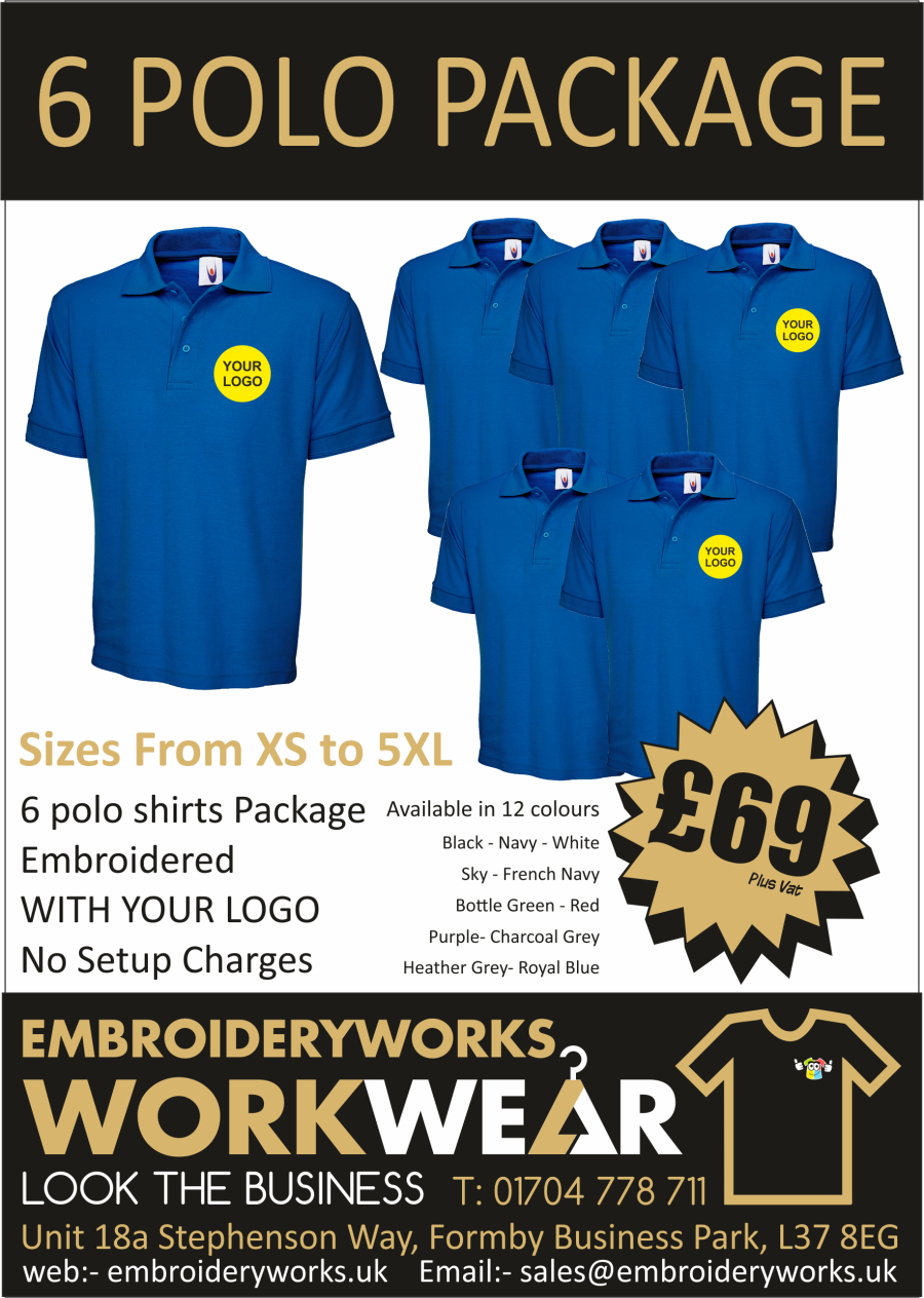 6 POLO EMBROIDERED POLO PACKAGE