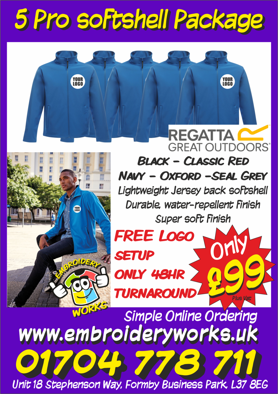 EMBROIDERED 5 PRO REGATTA SHOFTSHELL PACKAGE