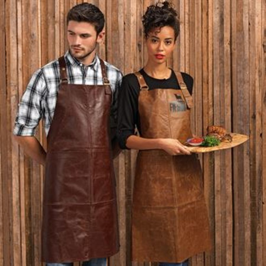 Artisan real leather cross back bib apron Embroidered