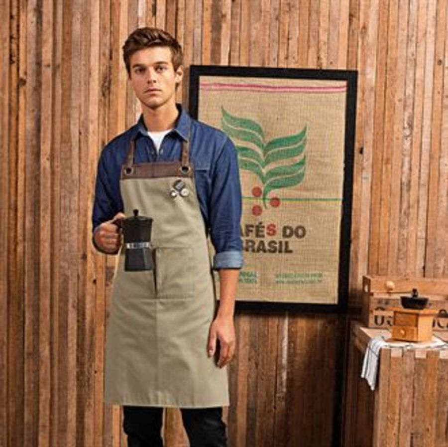 Espresso bib apron Embroidered