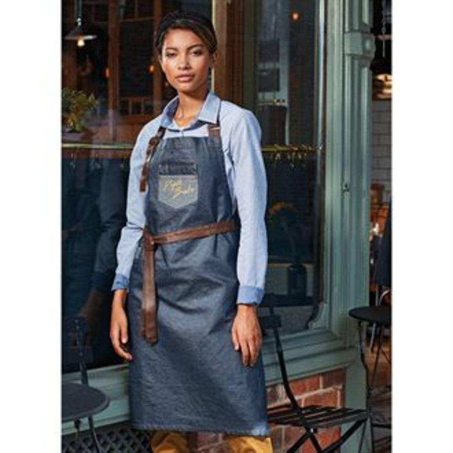 Division waxed-look denim bib apron