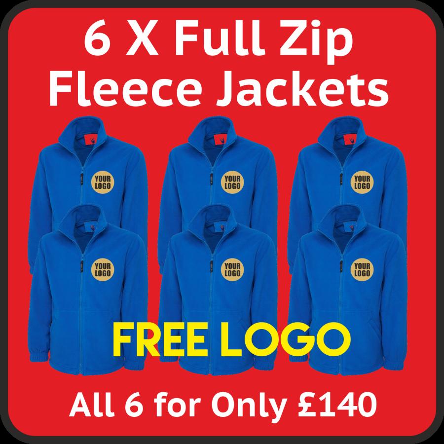 6 x Premium Fleece Jackets + Free Stitched Logo