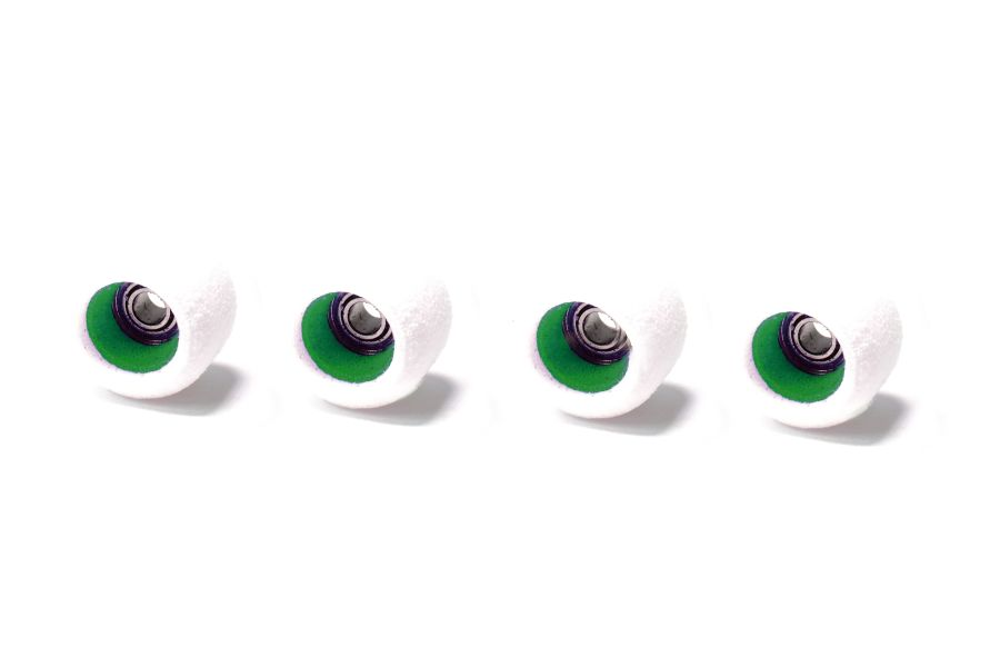 Single Bearing White Wheels with Green Cores