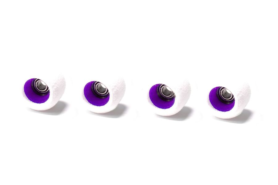 Single Bearing White Wheels with Purple Cores