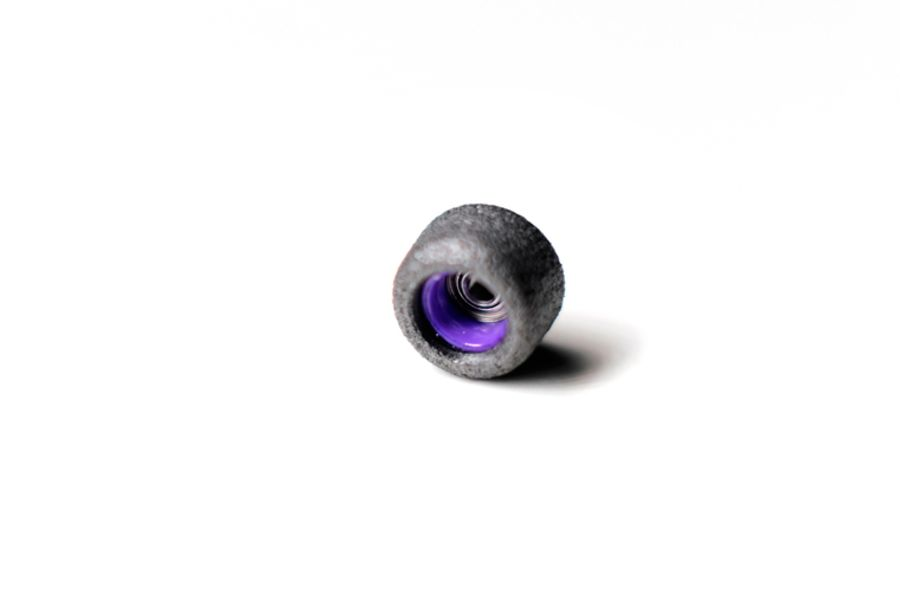 Single Bearing Black Wheels with Purple Cores