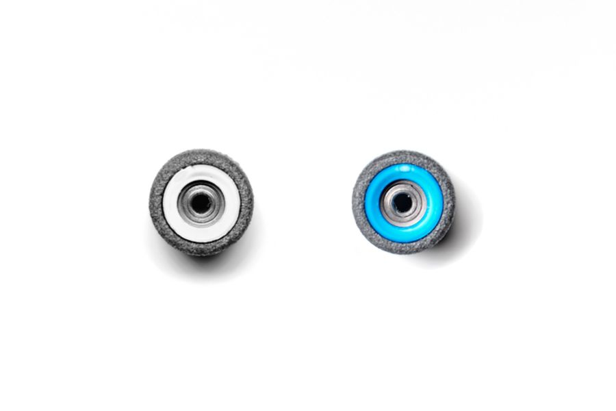 Dual Bearing Black Wheels With White/ Blue Cores
