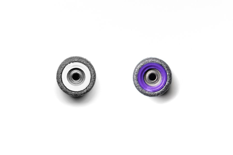 Dual Bearing Black Wheels With White/ Purple Cores