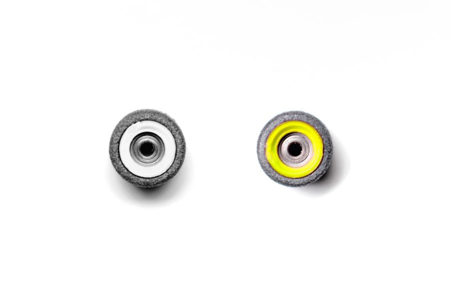 Dual Bearing Black Wheels With White/ Yellow Cores