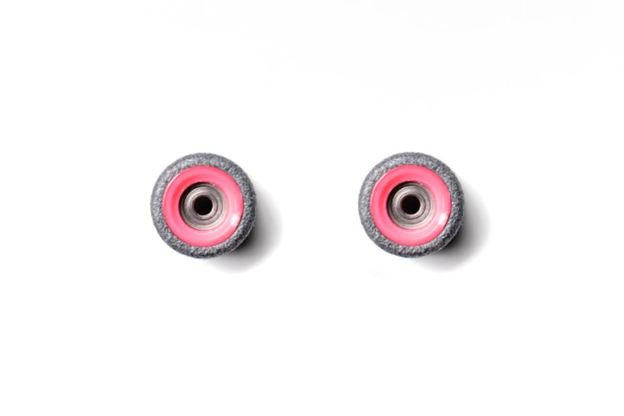 Dual Bearing Black Wheels With Pink/ Pink Cores