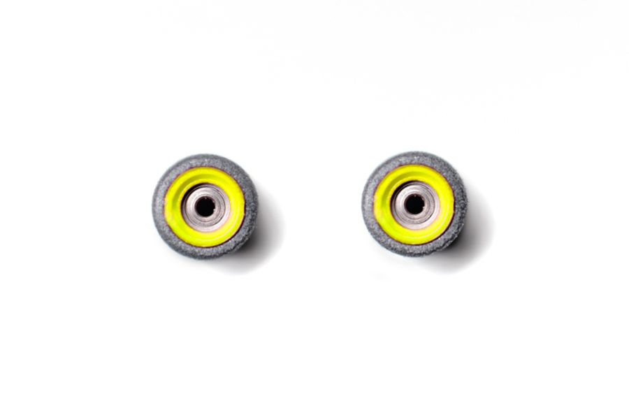 Dual Bearing Black Wheels With Yellow/ Yellow Cores