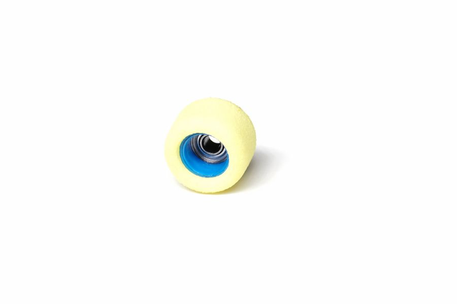 Single Bearing Yellow Wheels with Blue Cores