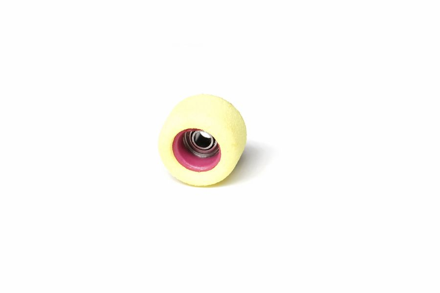 Single Bearing Yellow Wheels with Pink Cores