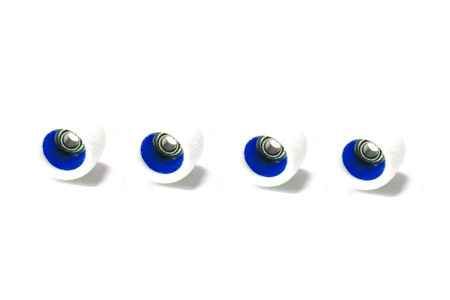 MiniCore White Wheels with Blue Cores