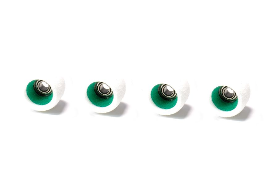 MiniCore White Wheels with Green Cores