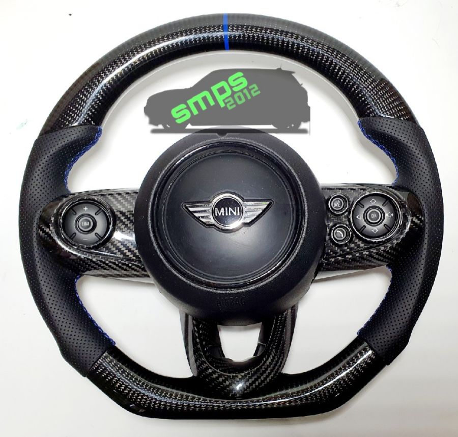 F56 Carbon Fiber Blue Stitching Perforated Leather Sides Flat Bottom Custom Steering Wheel