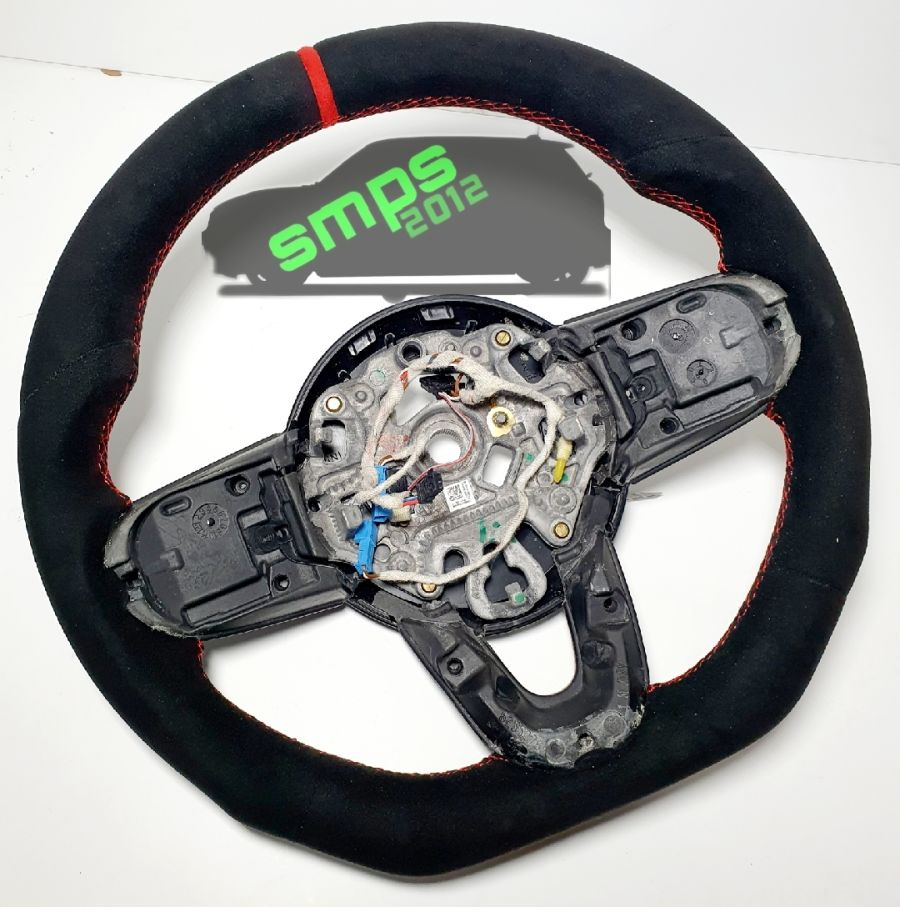 Gen 3 Black/Red Full Alcantara, Flat Bottom Custom Steering Wheel