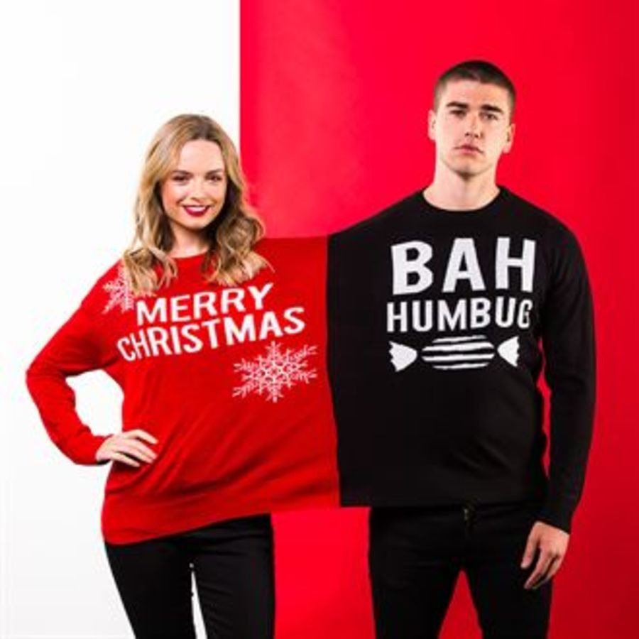 Adults Double Merry Christmas / Bah Humbug Christmas Jumper