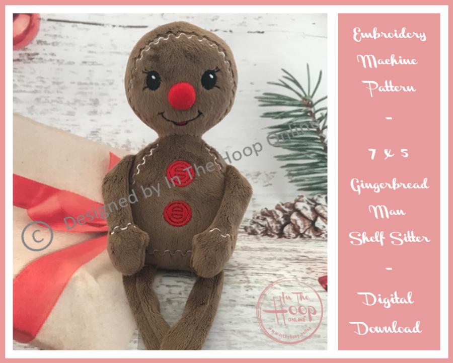 Gingerbread Man Shelf Sitter 7x5 - (ITH) In The Hoop