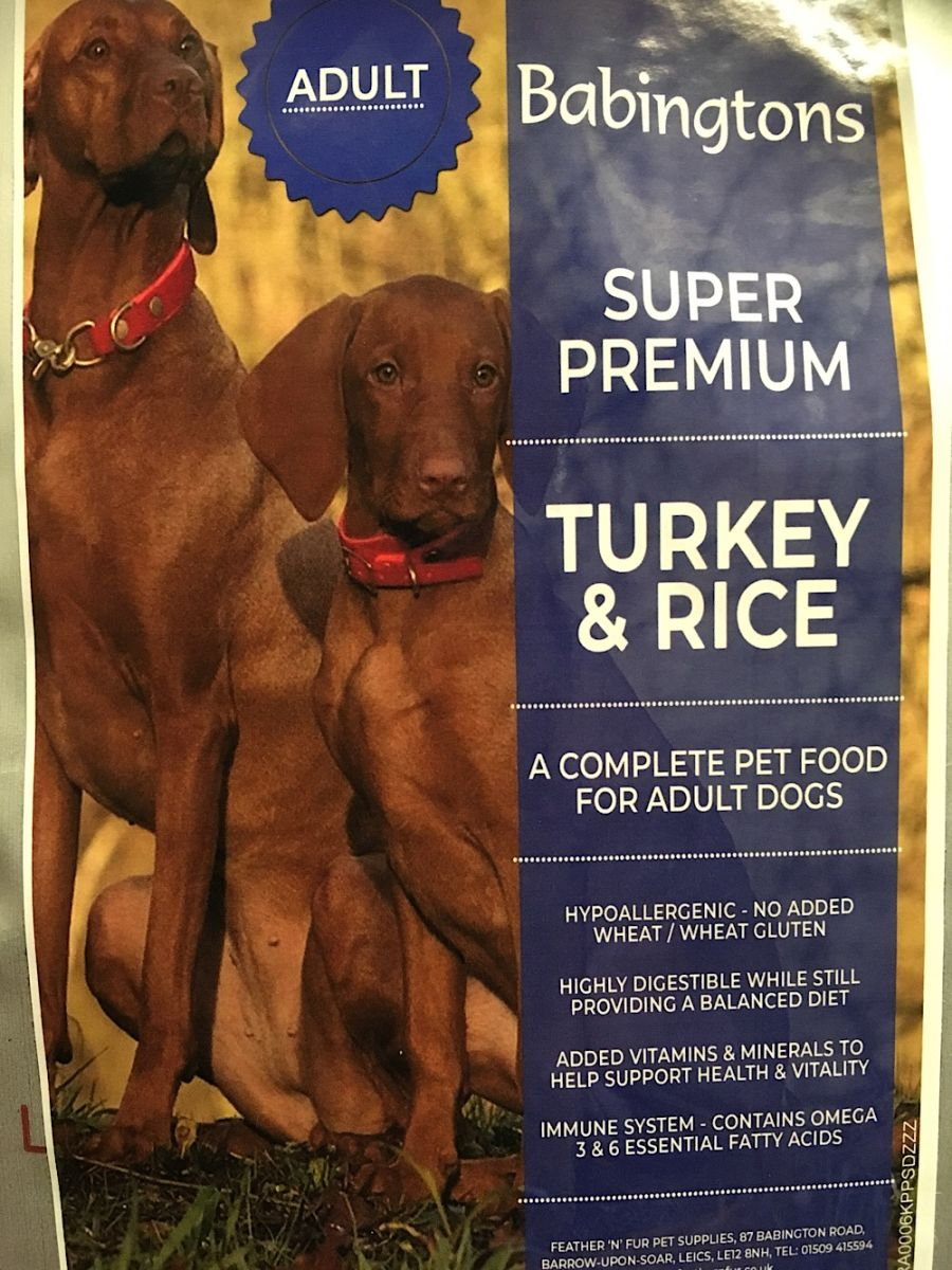 Turkey & Rice Dog Food . 1kg, 6kg or 12kg options from