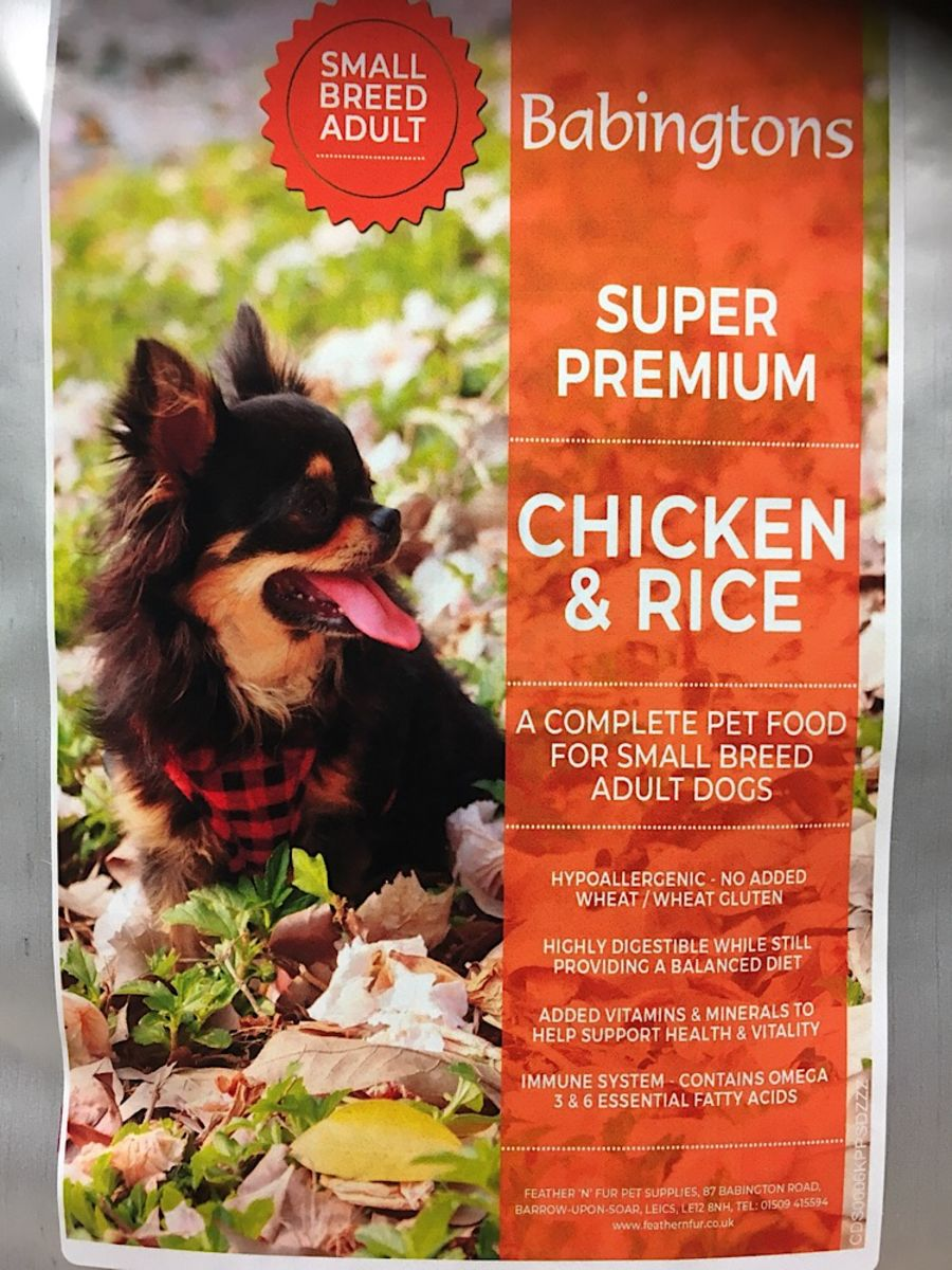 Chicken & Rice Small Breed, Dog 1kg,or 6kg options crom