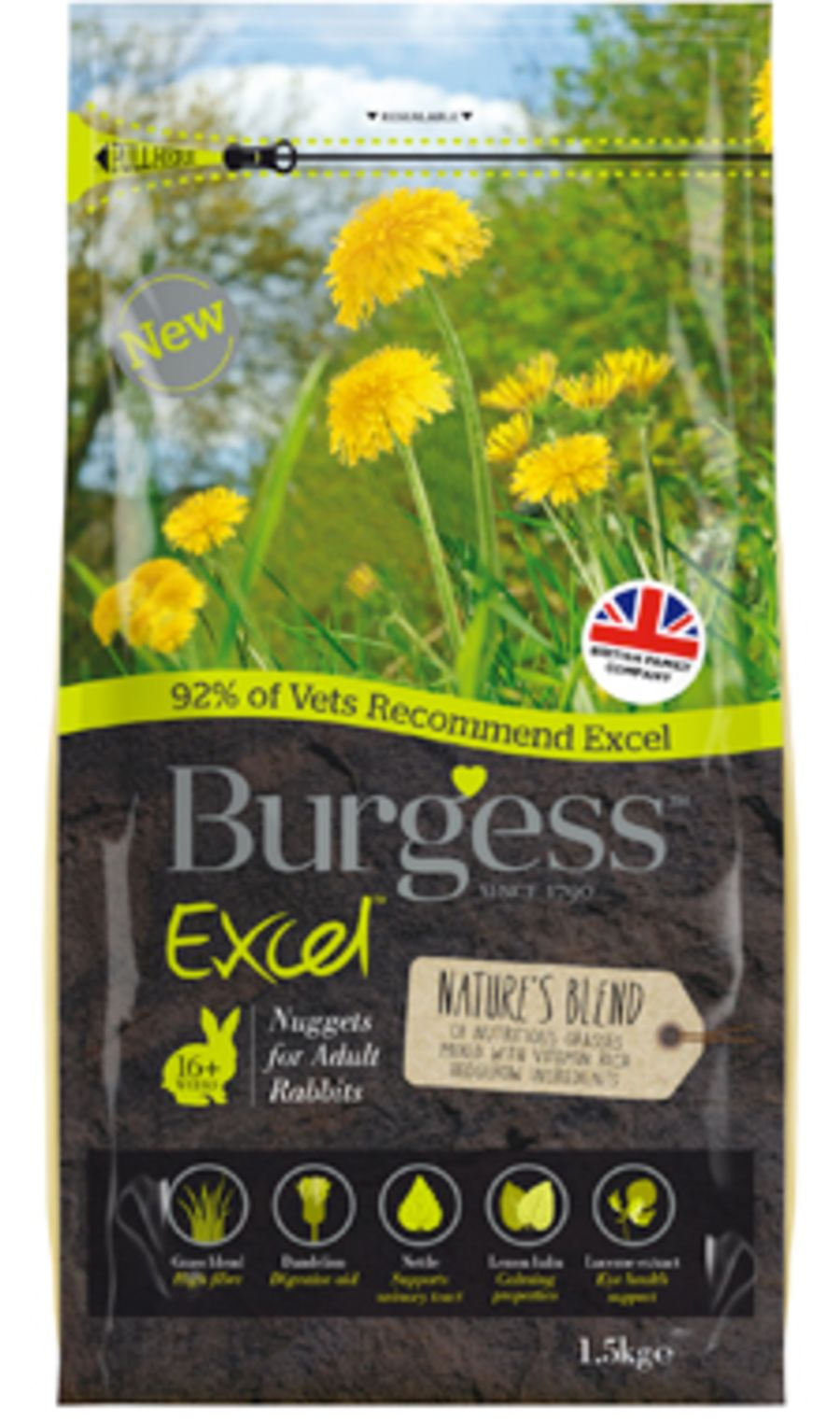 Burgess Excel Natures Blend Adult Rabbit Nuggets 1.5kg