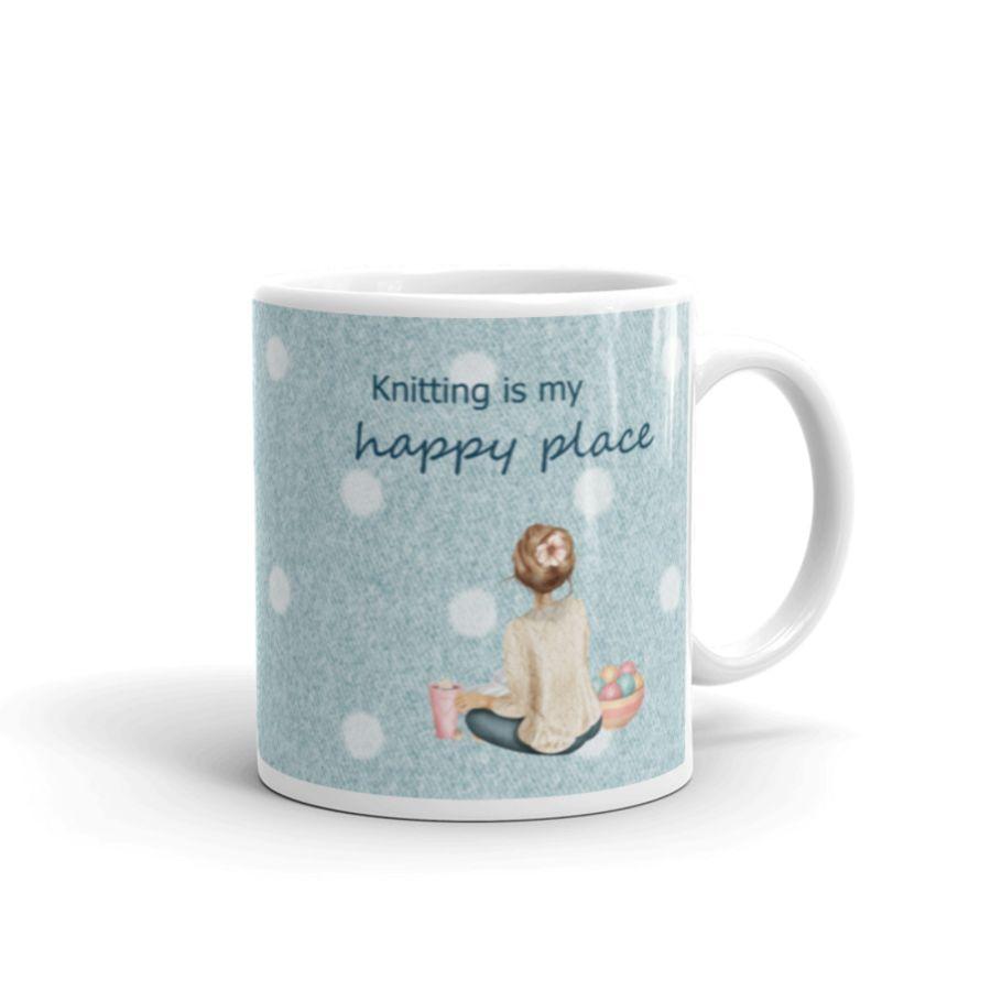 Knitting is My Happy Place Mug