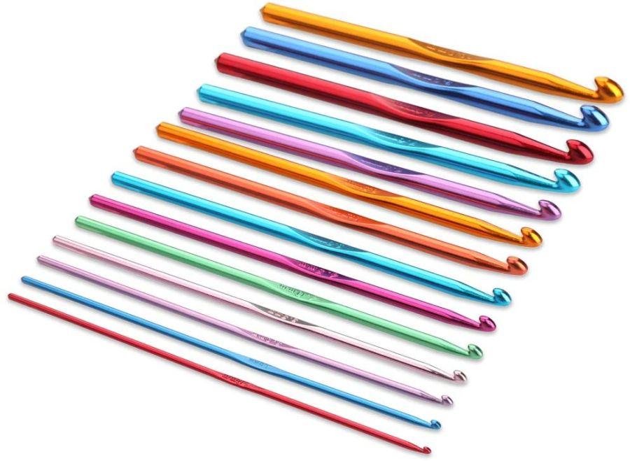 Pack of 14 Sizes Multi Coloured Aluminum Crochet Hooks Set Knitting Needles 2mm-10mm