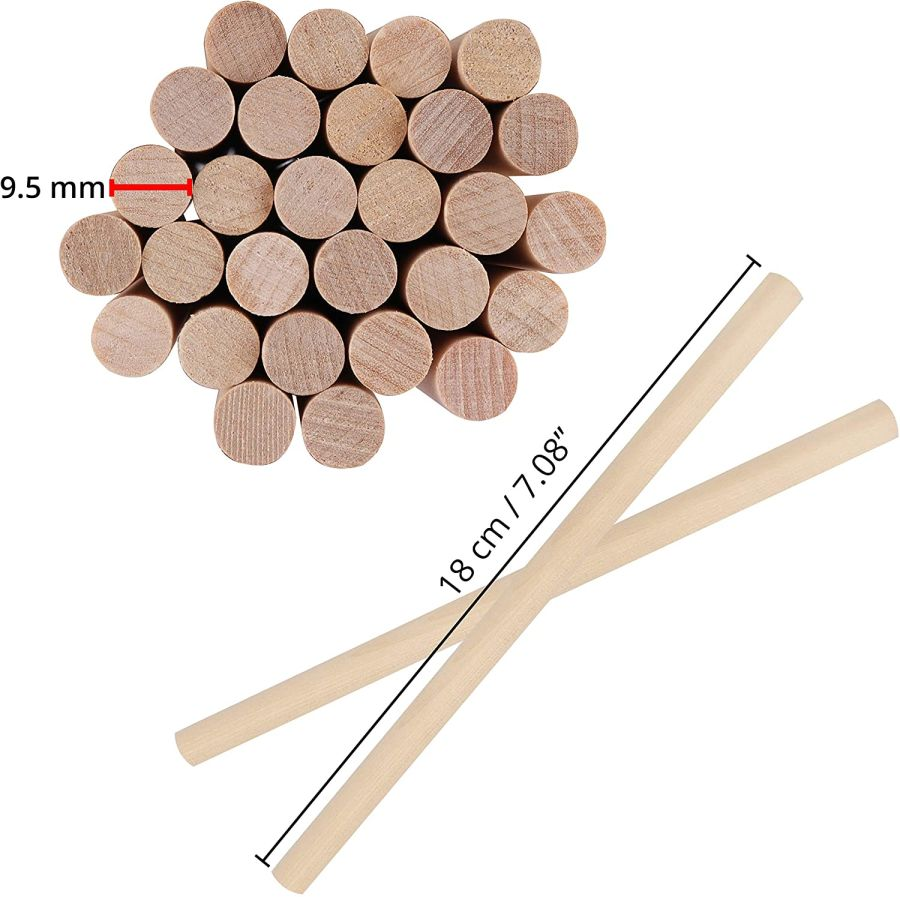 wooden dowel -appx 18cm long, 9.5 mm thick