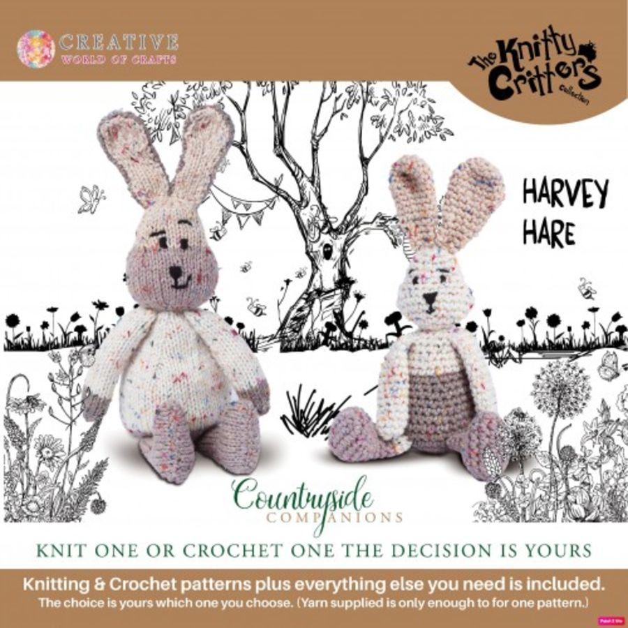 Harvey Hare - Knitty Critters Diy knitting and crochet kit