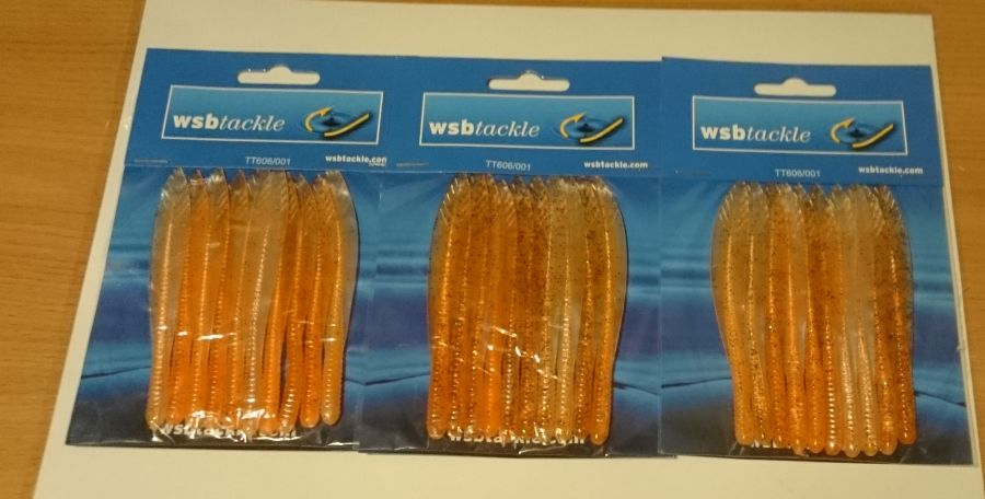 WSB FLATTAIL JELLY EEL 10cm ORANGE GLITTER  Pack of 30