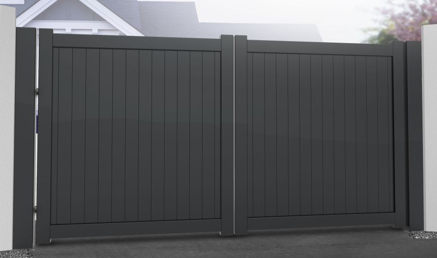 DOON Double swing gate with vertical solid infill – Flat top RMG001DG