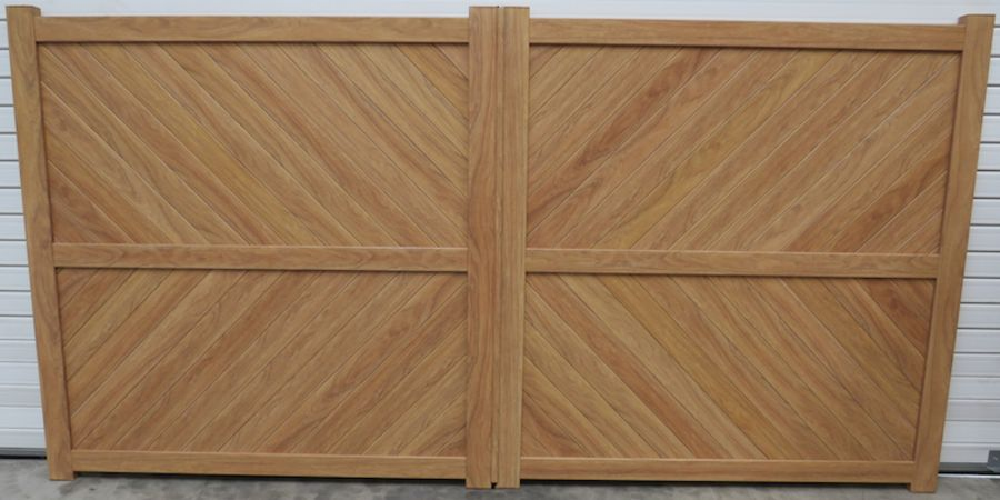 AWE Wood Effect double swing gate with diagonal solid infill – Flat top RMG003DGw