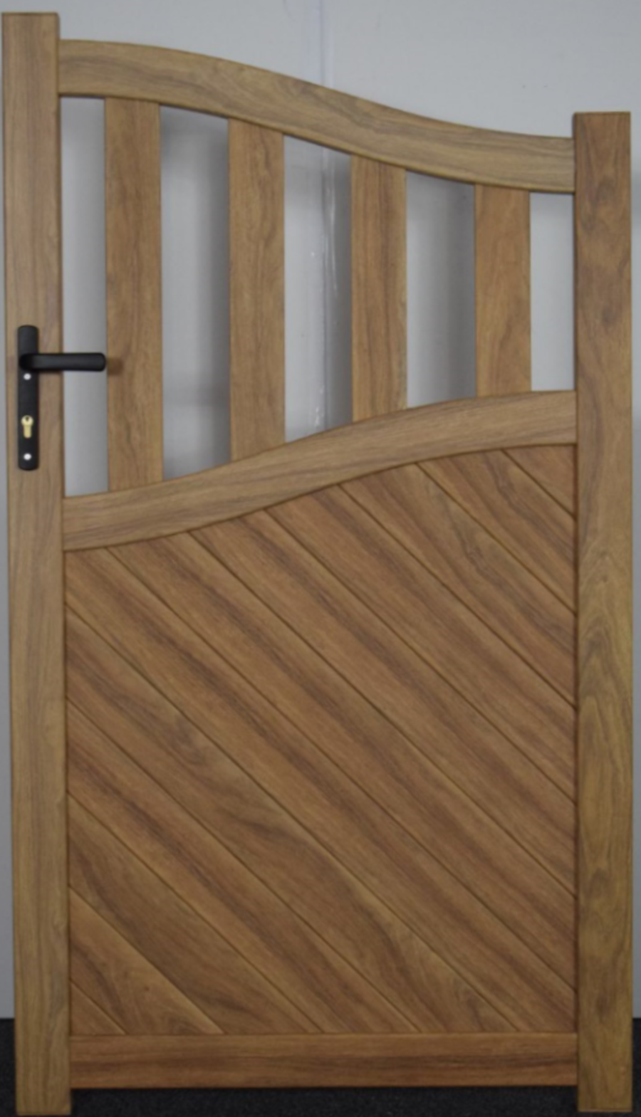 LOMOND Wood Effect Pedestrian Gate with Mixed Infill - Bell Curved Top RMG006PGw Light Oak