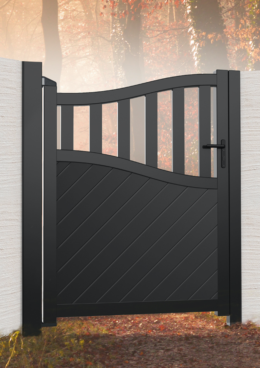 LOMOND Aluminium pedestrian gate with mixed infill – Bell curved top RMG006PG