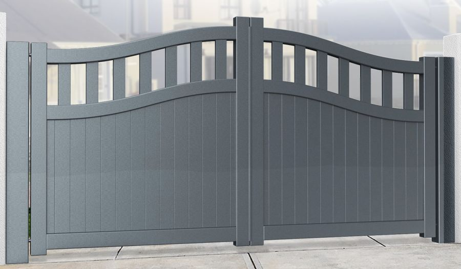 KEN Double Swing Gate With Mixed Infill - Bell Curved Top up to 2200mm high RMG005DG
