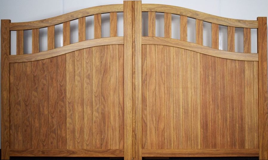 KEN Wood Effect Double Swing Gate With Mixed Infill - Bell Curved Top up to 2200mm high RMG005DGw