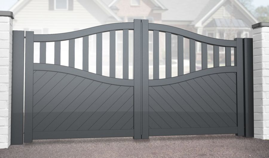 FINLOCH Double swing gate with mixed infill – Bell curved top up to 2200mm high RMG006DG