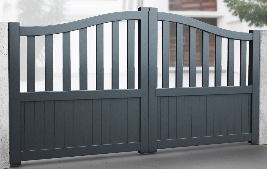 BRADEN Double swing gate with mixed infill with Bell curved top up to 2200mm high RMG007DG
