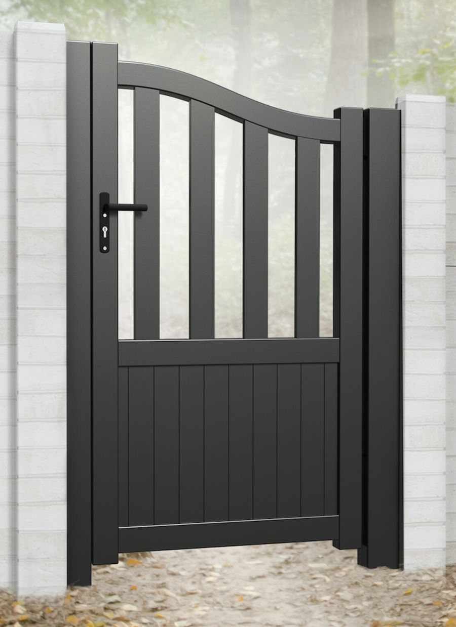 TROOL Pedestrian gate with mixed infill – Bell curved top up to 2200mm high RMG007PG