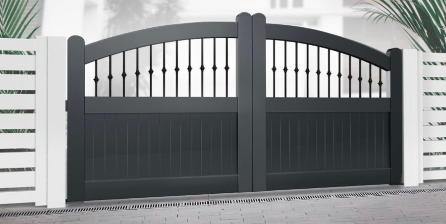 DUNURE Curved Top Driveway Gate, Mixed Infill, Black RMG008DG
