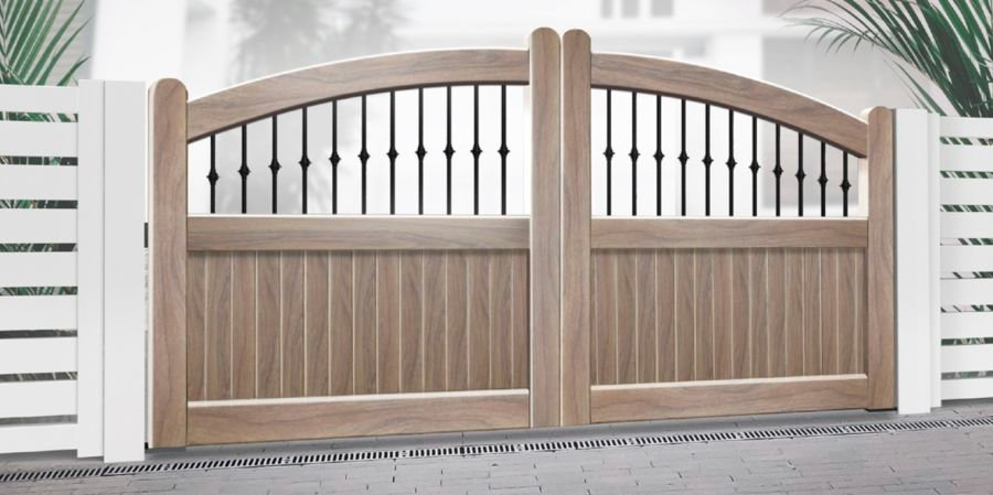 DUNURE Curved Top Driveway Gate, Mixed Infill, Light Oak RMG009DG