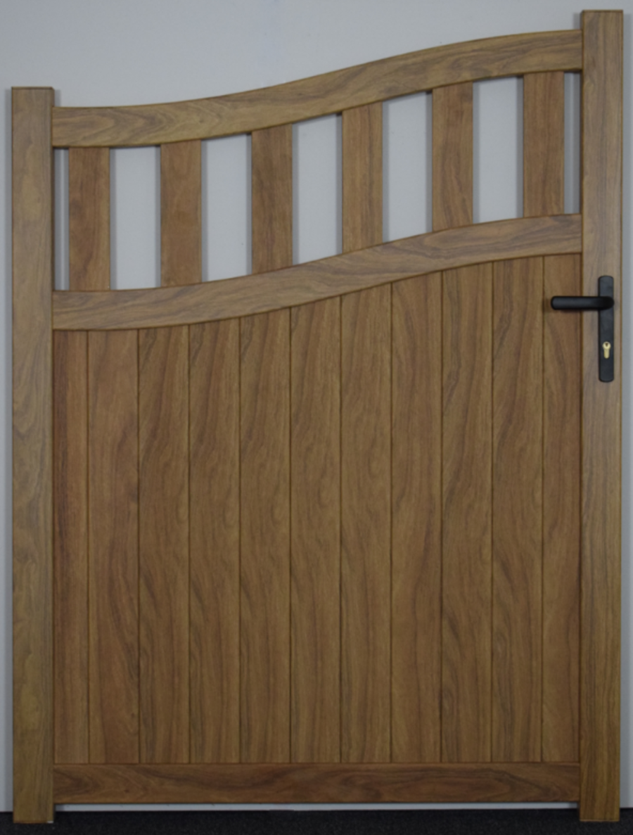KATRINE Pedestrian gate with mixed infill – Bell curved up to 2200mm high RMG005PGw