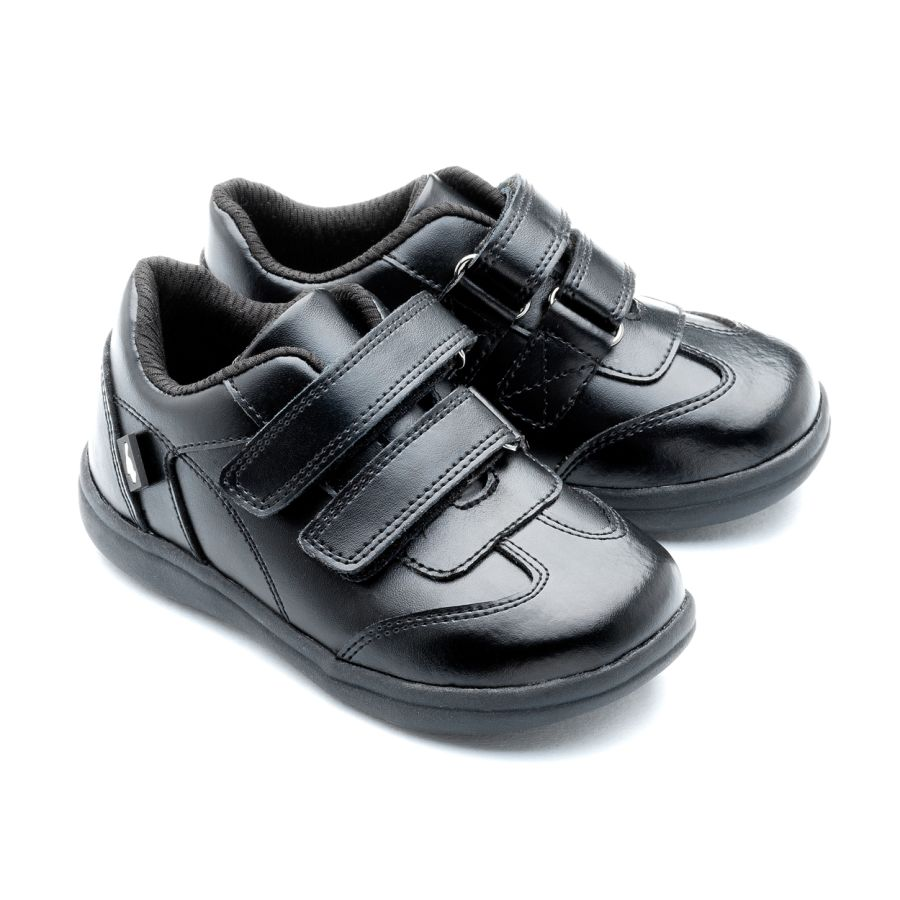 Ethan - Black leather school shoes