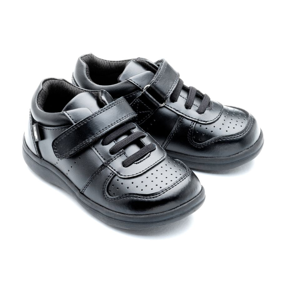 Lucas - Black leather school shoes